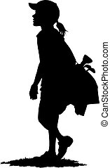 Silhouette of a Young girl golfer carrying her golf bag with golf clubs down the fairway.