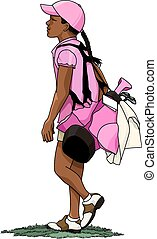Young black girl golfer carrying her golf bag with golf clubs down the fairway.