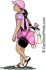 Young girl golfer carrying her golf bag with golf clubs down the fairway.