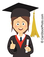Young girl graduate student in graduation cap and mantle with a university diploma in her hand giving thumbs up