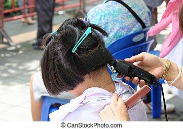 Young girl Hair cutting