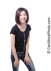 Young Girl happy listening music