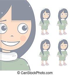 Young girl. Happy, sad and angry. Kid set. Cartoon character vector illustration.