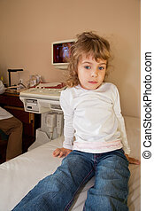 young girl have periodic survey health in medical office