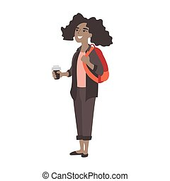 Young girl high school student at break. African American college student with cup of coffee. First day in new school or college. Teen girl hanging out during recess
