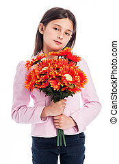Young Girl Holding a Bunch of Flowers.
