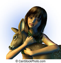 Young Girl Holding a Fawn - 3D render