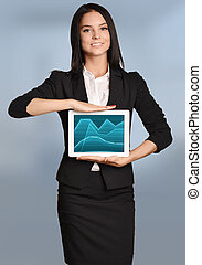 Young girl holding a tablet with the image of graphs