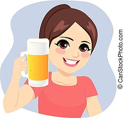 Young Girl Holding Beer Pitcher