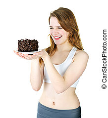 Young girl holding chocolate cake