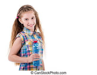 Young girl holding plastic bottle of water