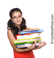 Young Girl holding school books