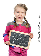 young girl holding slate