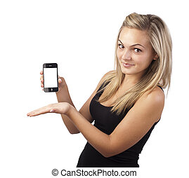 Young girl holding smartphone in her hand