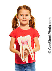 Young girl holding tooth dummy with her hands