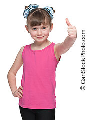 Young girl holds her thumbs up