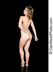Young Girl in a Bikini Removing Her Top