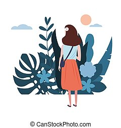 Young girl in a blue T-shirt goes about his business. Background flora flowers floral leaves. Trend design flat cartoons. Colorful vector illustration isolated