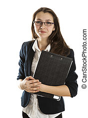 young girl in a business form