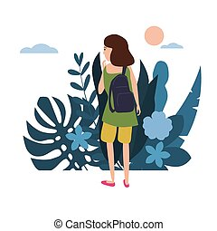 Young girl in a green T-shirt with a backpack goes about his business. Background flora flowers floral leaves. Trend design flat cartoons. Colorful vector illustration isolated