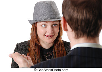 Young girl in a hat on consultation