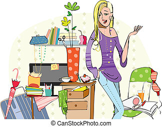 Young girl in a messy room - Young careless girl in her...