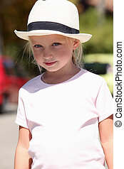 Young girl in a panama hat