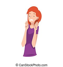 Young girl in a purple shirt refuses something. Vector illustration.