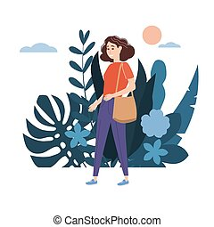 Young girl in a red T-shirt with bag goes about his business. Background flora flowers floral leaves. Trend design flat cartoons. Colorful vector illustration isolated