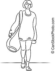 Young girl in a sweater with a large luggage bag.
