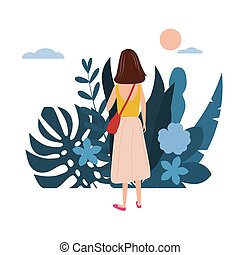 Young girl in a yellow T-shirt goes about his business. Background flora flowers floral leaves. Trend design flat cartoons. Colorful vector illustration isolated