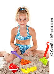 young girl in beach wear