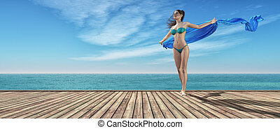 Young girl in blue bathing suit on a wooden pier. This is a ...