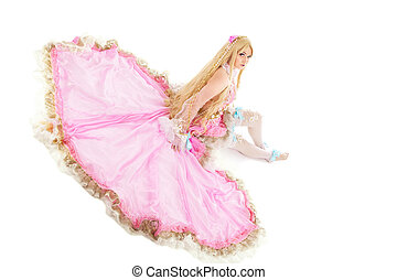 Young girl in fairy-tale doll costume isolated