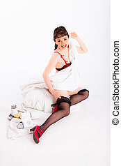 e51681055 Fifties lingerie pin-up. Retro fifties pin-up attractive girl in ...