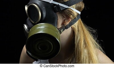 Young girl in gas mask - Footage of sexual young nurse on...