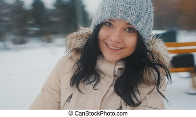 young girl in love in winter park - Portrait of Young cute...