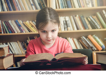 Young Girl in Old Library