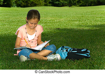 Young girl in park