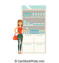 Young Girl In Pharmacy Choosing And Buying Drugs And Cosmetics, Part Of Set Of Drugstore Scenes With Pharmacists And Clients