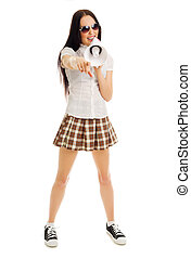 Young girl in plaid skirt with megaphone