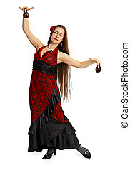 Young girl in red dress performs Spanish dance