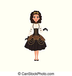 Young girl in steampunk costume. Woman in blouse, gloves, vintage goggles on head, corset and skirt with golden chains. Flat vector