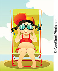 Vector illustration of a young girl in sunglasses on a beach
