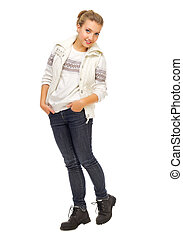 Young girl in sweater and jeans