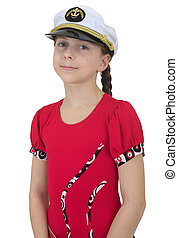 Young girl in uniform cap