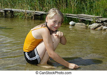 young girl in water