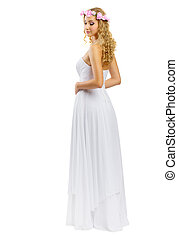 Young girl in white dress
