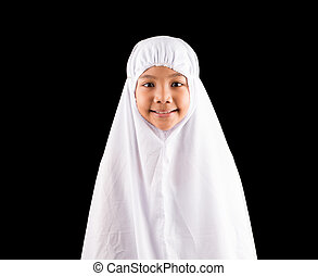 Young Girl In White Hijab