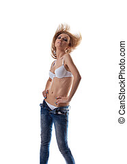 Young girl in white lingerie undress jeans